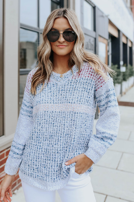 Break of Day V-Neck Textured Sweater