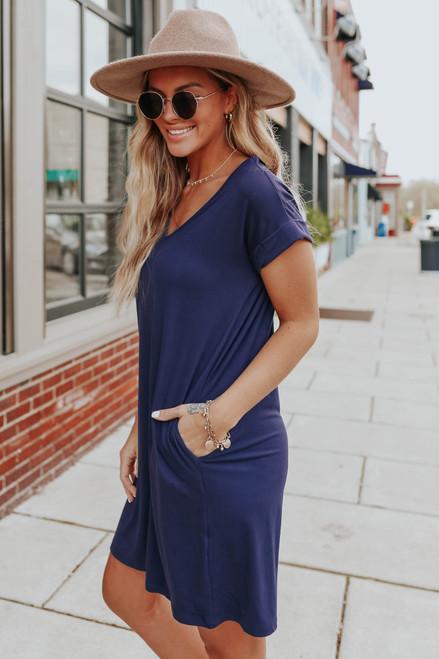 V-Neck Cuffed Sleeve Navy T-Shirt Dress