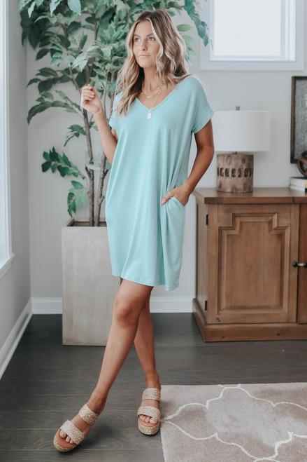 V-Neck Cuffed Sleeve Seafoam T-Shirt Dress