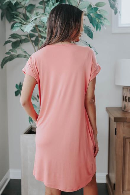 V-Neck Cuffed Sleeve Sunset T-Shirt Dress