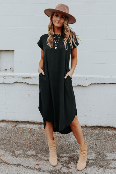Cuffed Sleeve Ribbed Midi Dress