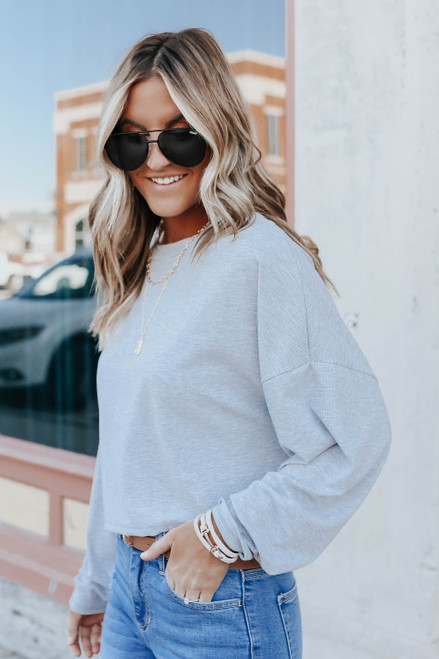 Weekend Ready Grey Cropped Ribbed Pullover
