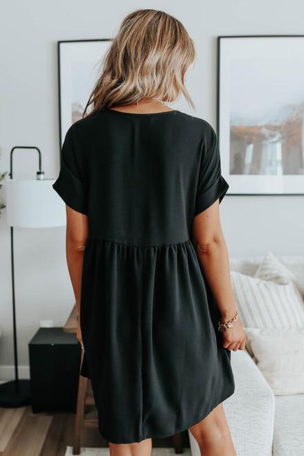Short Cuffed Sleeve Black Babydoll Dress