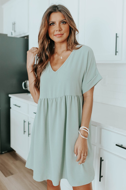 Short Cuffed Sleeve Sage Babydoll Dress