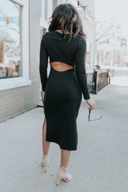 Open Back Ribbed Midi Dress