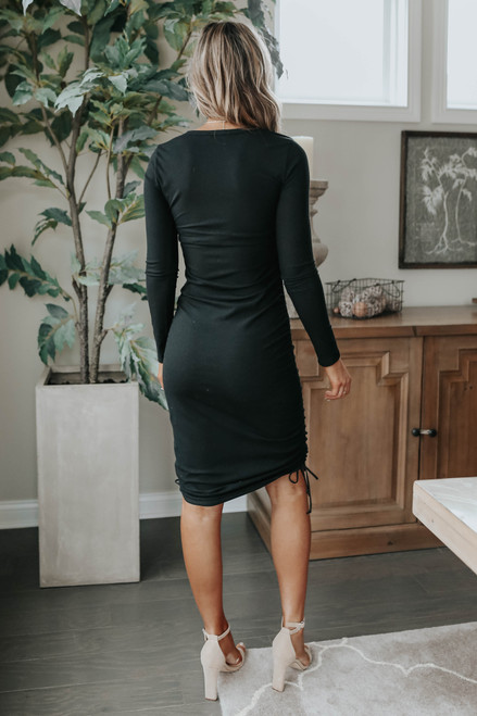 Hint of Romance Ruched Ribbed Dress