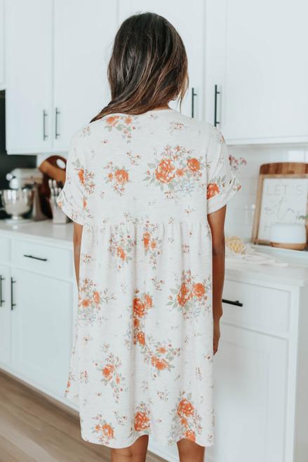 V-Neck Orange Floral Babydoll Dress