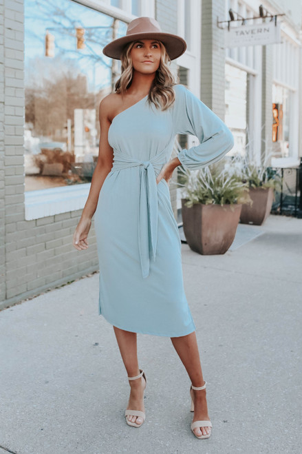 One Shoulder Tie Front Sage Midi Dress