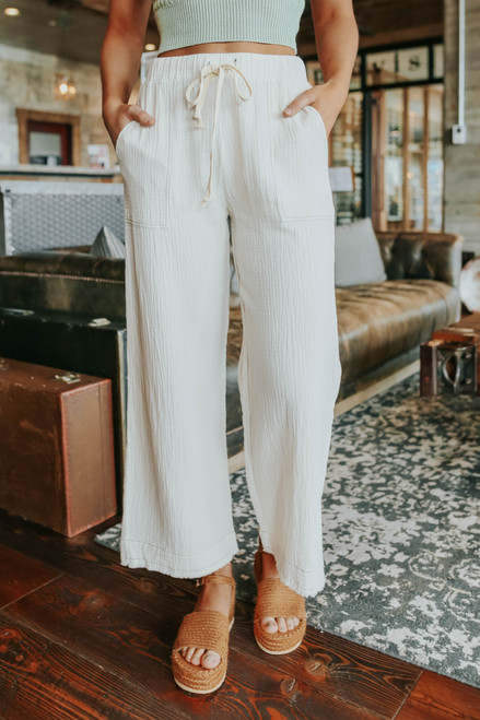 Resort Stay Drawstring Crinkle Pants