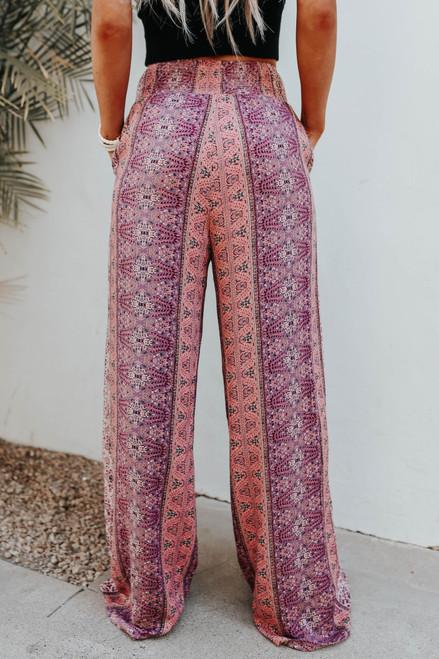 Smocked Printed Wide Leg Pants