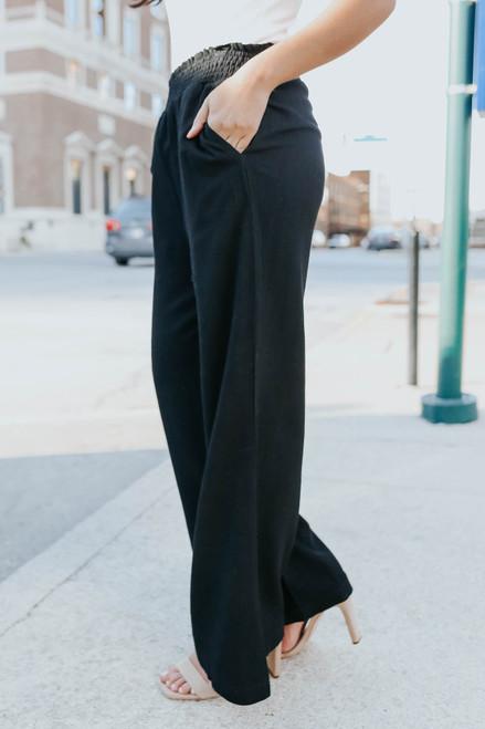 Smocked Black Wide Leg Linen Pants
