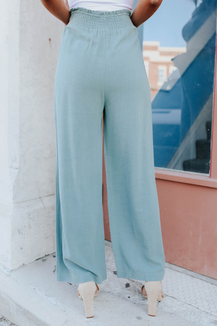 Smocked Sage Wide Leg Linen Pants