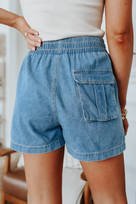 High Waisted Distressed Chambray Shorts