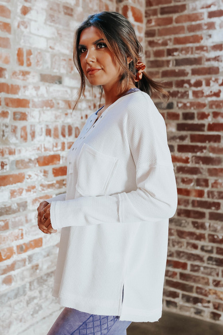 Claudia Grommet White Waffle Top