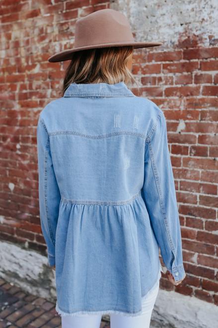 Button Down Denim Peplum Shirt