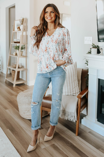 V-Neck Pleated Sleeve Floral Blouse