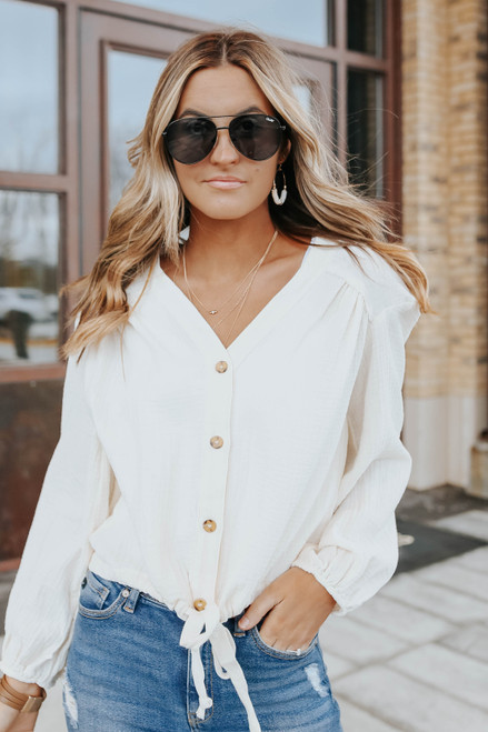 Button Down Drawstring Crinkle Top