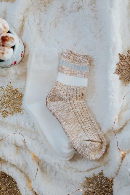 Varsity Stripe Fuzzy Sock Set