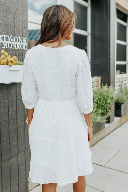 Puff Sleeve Surplice Ivory Textured Dress