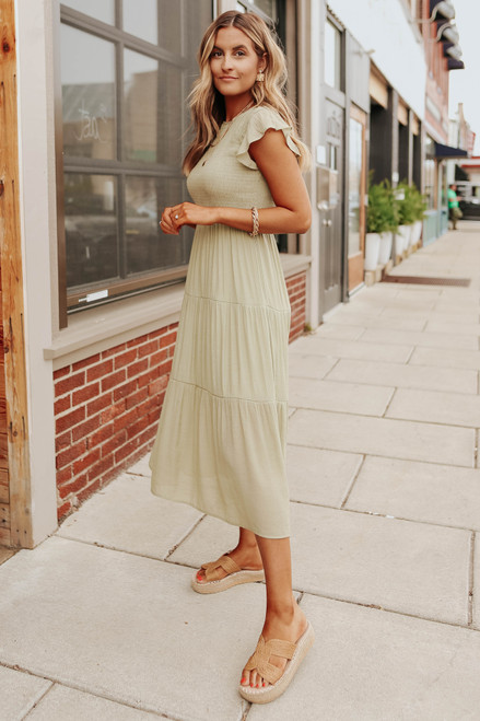 Ruffle Sleeve Smocked Olive Midi Dress