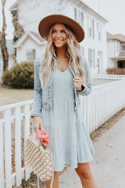 V-Neck Ruffle Sleeve Dotted Tiered Dress