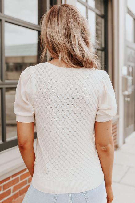 V-Neck Puff Sleeve Diamond Knit Top