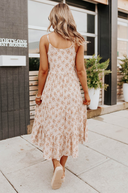 Button Detail Blush Floral Tiered Midi Dress