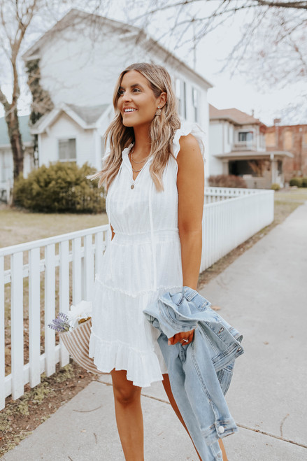 V-Neck Ruffle Tiered Dotted Dress