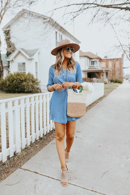 Button Down Tie Waist Chambray Dress