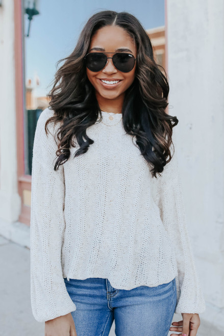 Tie Back Flecked Textured Sweater