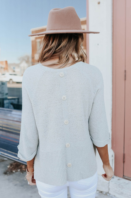 Roll Tab Sage Peplum Sweater
