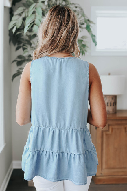 Sleeveless Ladder Detail Chambray Top