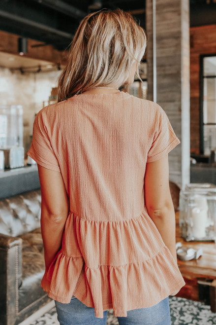 Short Sleeve Peach Tiered Peplum Top
