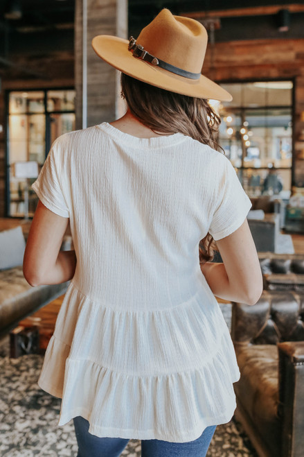 Short Sleeve Ivory Tiered Peplum Top