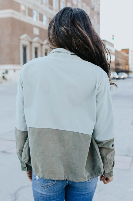 Drawstring Colorblock Peach Skin Jacket