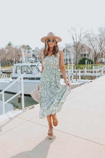 V-Neck Sage Floral Tiered Midi Dress