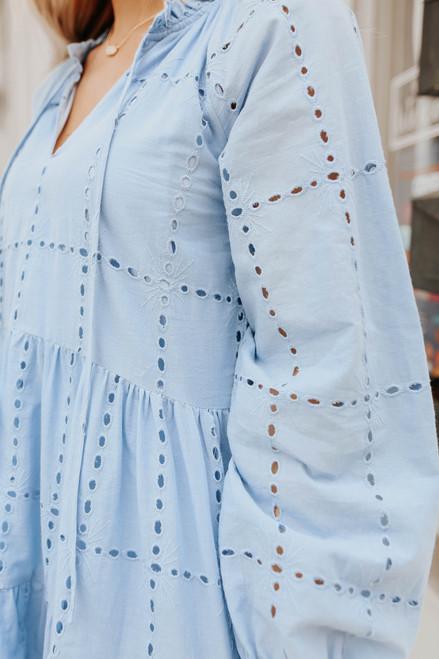 Coastal Breeze Eyelet Babydoll Dress