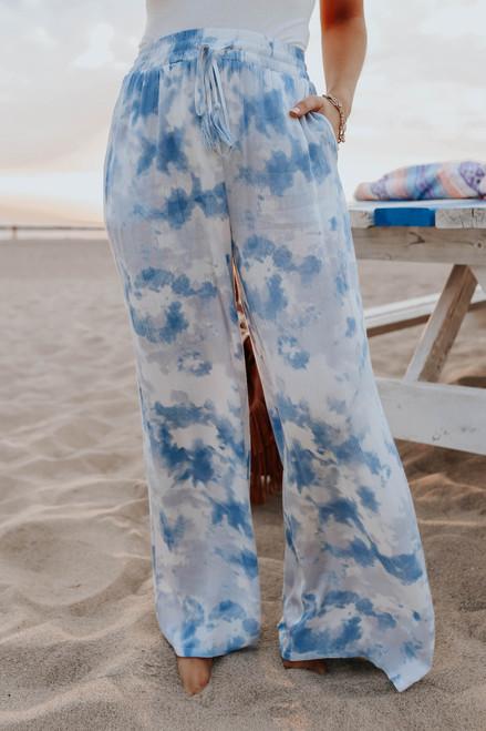 Drawstring Blue Tie Dye Crinkle Pants