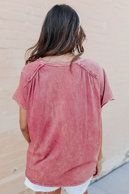 Vintage Wash Terracotta Pocket Tee