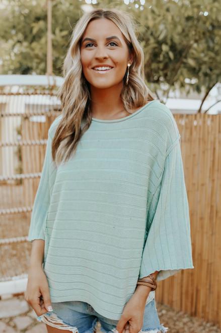 3/4 Sleeve Dolman Ribbed Sweater