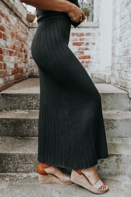 Madeleine Side Slit Ribbed Midi Skirt