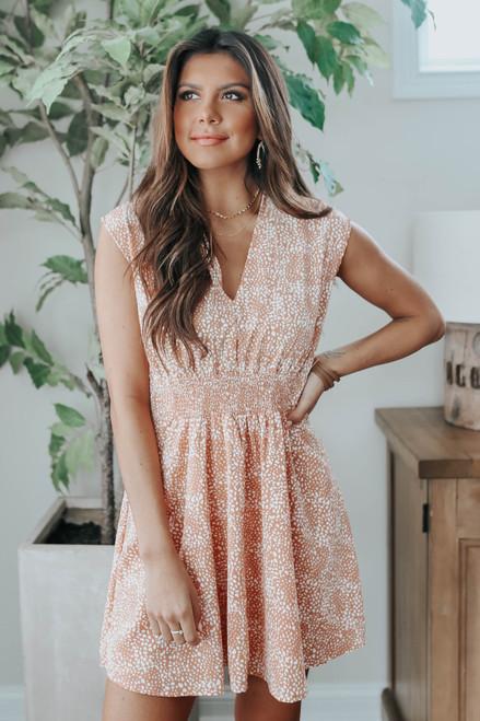 V-Neck Cap Sleeve Dotted Dress