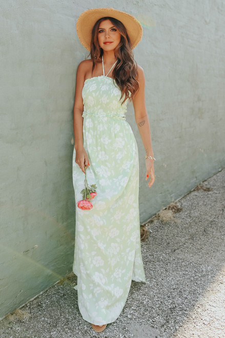 Leilani Smocked Halter Floral Maxi