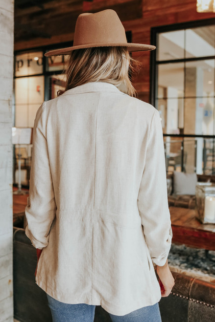 Roll Tab Drawstring Linen Jacket