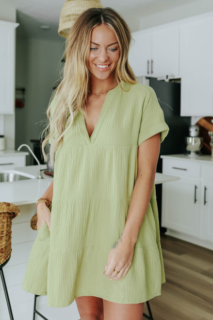 Mojito V-Neck Tiered Babydoll Dress
