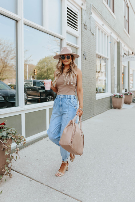 One Shoulder Taupe Waffle Top