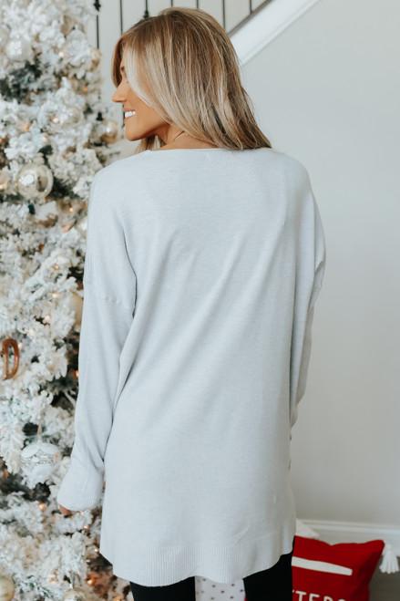 V-Neck Seam Detail Grey Sweater