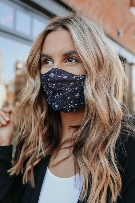Free People Black Floral Mask & Bow Set