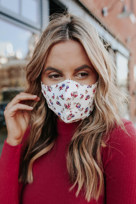 Free People Ivory Floral Mask & Bow Set