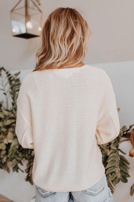 Coastal Heat V-Neck Cream Seam Detail Sweater